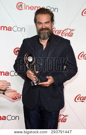 LAS VEGAS-APR 4: David Harbour attends The CinemaCon Big Screen Achievement Awards at OMNIA Nightclub at Caesars Palace during CinemaCon 2019 on April 4, 2019 in Las Vegas, Nevada.