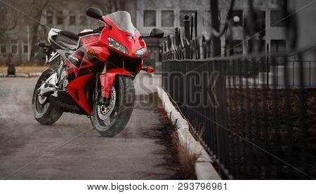 Krasnoyarsk, Russia - March 24, 2019: Red And Black Sportbike Honda Cbr 600 Rr 2005 Pc37.