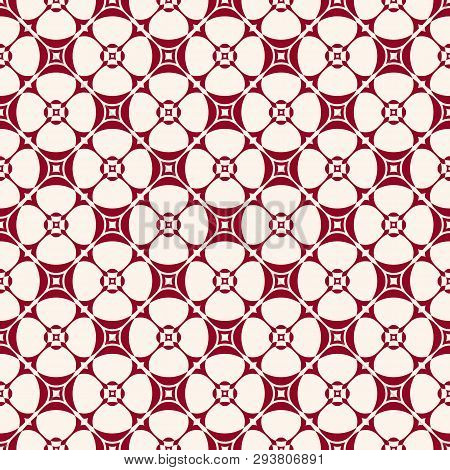 Simple Geometric Floral Pattern. Vector Seamless Texture With Flower Shapes, Grid, Net, Lattice. Abs