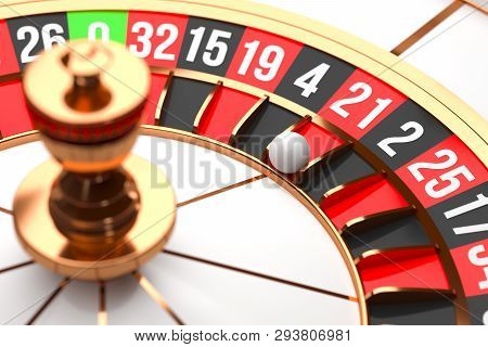Luxury Casino Roulette Wheel On Black Background. Casino Theme. Close-up White Casino Roulette With