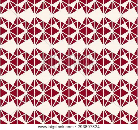 Vector Geometric Triangles Pattern. Elegant Burgundy And White Seamless Texture. Abstract Ornament B