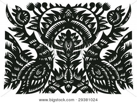 Black Decorative Pattern With Birds And Flowers