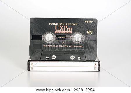 Prague, Czech Republic - February 20, 2019: Audio Compact Cassette Sony Ux-pro 90 Super Chrome Plus