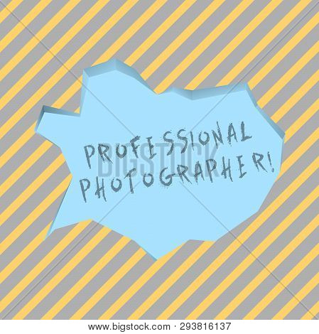 Text Sign Showing Professional Photographer. Conceptual Photo Demonstrating Who Takes Photographs Es