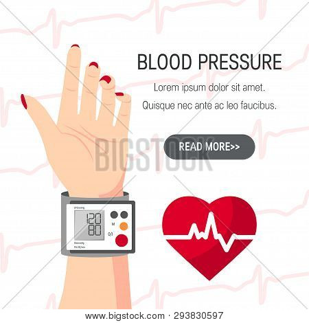 Blood Pressure Vector Concept. Design With Human Hand And Blood Pressure Monitor In Flat Style.