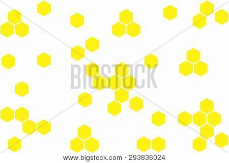 Abstract Geometric Background With Yellow Hexagons On White Background. Seamless Texture With Honeyc