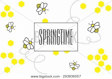 Abstract Geometric Background With Yellow Hexagons And Bees On White Background. Spring Seamless Pat
