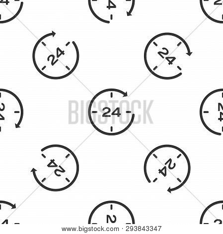 Grey Clock 24 hours icon isolated seamless pattern on white background. All day cyclic icon. 24 hours service symbol. Vector Illustration poster
