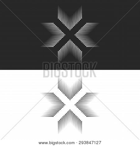 Converge 4 Arrows Logo Cross Shape T-shirt Print, Letter X Form Black And White Lines, Crossing Four