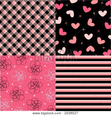Pink And Black Pattern Combo (Vector)