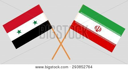 Iran And Syria. The Iranian And Syrian Flags. Official Colors. Correct Proportion. Vector Illustrati