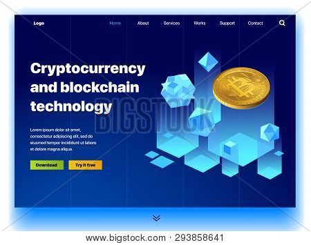 Cryptocurrency Website. Cryptocurrency And Digital Money Technology Concept Vector Website. Website