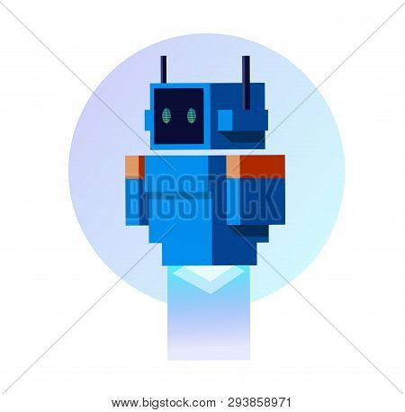 Robot. Android. Artificial Intelligence. Blue Robot In Flat Style. Blue Android In Flat Style. Funny