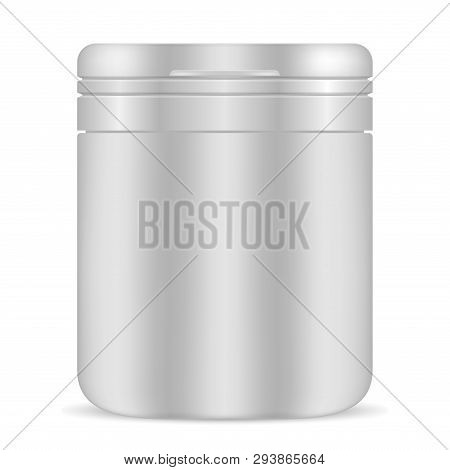 Pill Bottle. White Blank Vector Package. 3d Plastic Container For Medicine Vitamin, Isolated. Supple