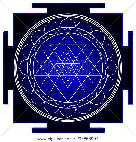 Mandala Sri Yantra Chakra Tantra Spirituality Esoteric Zen Illustration Black Blue