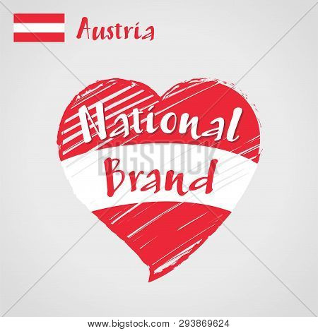 Vector Flag Heart Of Austria, National Brand. Austria Flag In Shape Of Heart, Pencil Strokes Drawing