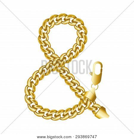 Gold Ampersand Or And Or Short And Sign Made Of Shiny Thick Chain. Realistic Vector Detailed Illustr