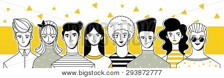 Young People (men And Women). Image With A Group Of People. Drawing People In Retro Style.