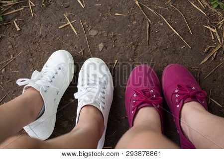 Red And White Sneaker Couple Lover Shoes