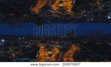Aerial Night View Of A Big City And Beautiful Lights, Night Life Concept, Mirror Horizon Effect. Med