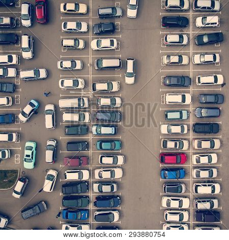 A View From Above To The Ranks Of Head-in Parked Cars.end-to-end Parking. Cruising For Parking Space