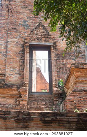 Ancient Old Brick Temple Door And Wall