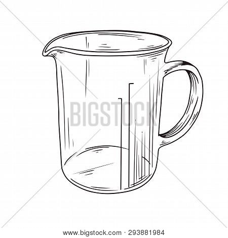 Sketch Kitchen Measuring Cup. Vector Illustration In Sketch Style.