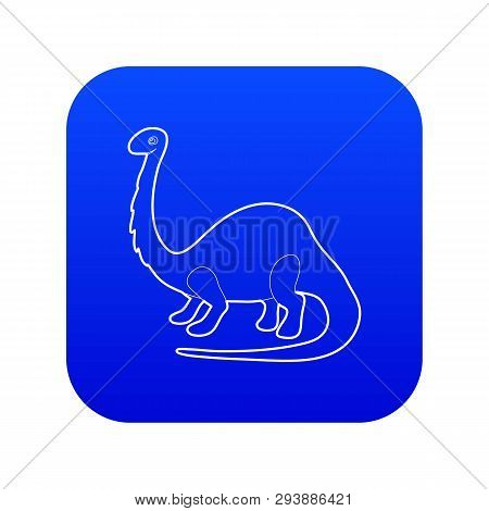 Apatosaurus Dinosaur Icon Blue Vector Isolated On White Background