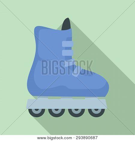 Children Inline Skates Icon. Flat Illustration Of Children Inline Skates Vector Icon For Web Design