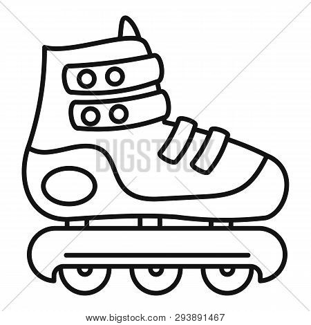 Protected Inline Skates Icon. Outline Protected Inline Skates Vector Icon For Web Design Isolated On