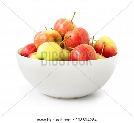 Red Apples In White Bowl Isolated On White Background, Fruit Healthy Diet Concept
