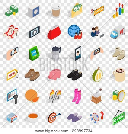 Woman Buying Icons Set. Isometric Style Of 36 Woman Buying Vector Icons For Web For Any Design