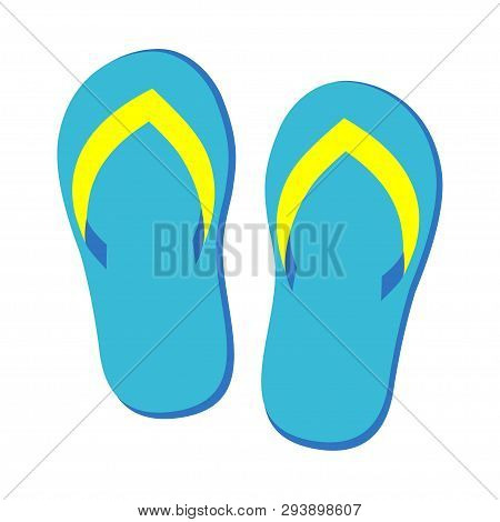 Pair Of Blue Flip Flops Isolated, Vector Illustration Graphic, Footwear For Summer, Pair Of Flipflop