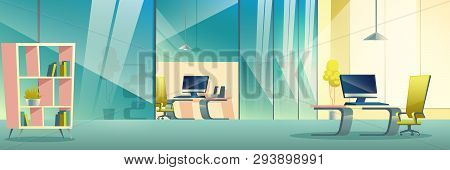 Modern Company Spacious Office Interior Cartoon Vector. Boss, Business Team Leader Or Manager Workpl