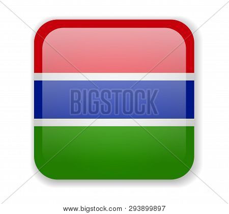 Gambia Flag Bright Square Icon On A White Background