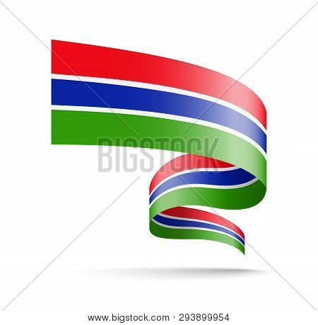 Gambia Flag In The Form Of Wave Ribbon.