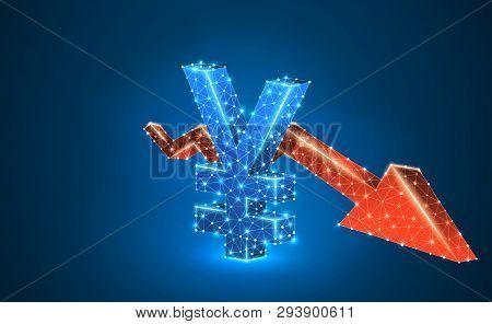 Japanese Yen Currency, Downtrend Red Arrow, Digital, Blue, Neon 3d Illustration. Polygonal Vector Bu