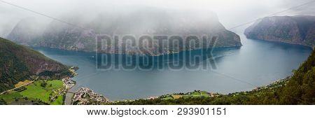 Summer Misty Overcast Fiord View From Stegastein Viewpoint (aurland, Sogn Og Fjordane, Norway)