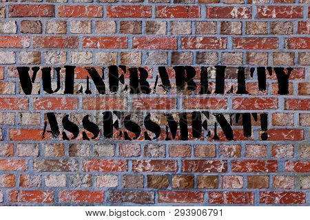 Text sign showing Vulnerability Assessment. Conceptual photo defining identifying prioritizing vulnerabilities Brick Wall art like Graffiti motivational call written on the wall. poster