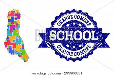 Mosaic Puzzle Map Of Grande Comore Island And Rubber School Seal With Ribbon. Vector Map Of Grande C