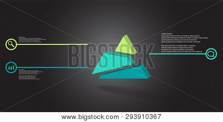 3D Illustration Infographic Template With Embossed Triangle Randomly Divided To Three Shifted Parts