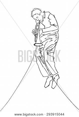 Saxophonist. Silhouette Of Musician With Sax. Black Drawing Contour. Hand Drawn Jazz Illustration. V