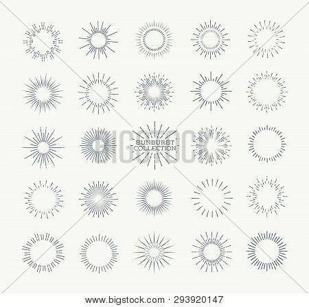 Sunburst Vector Set Black Color Isolated On Background For Logotype, Emblem, Logo, Tag, Stamp, T Shi
