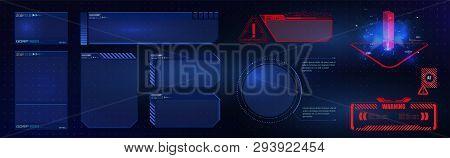 Hud Ui Gui  Futuristic User Interface Screen Elements Set. High Tech Screen For Video Game. Sci-fi C