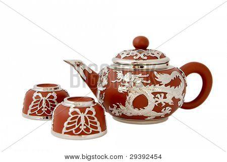 Beautiful tea set, isolated on white background