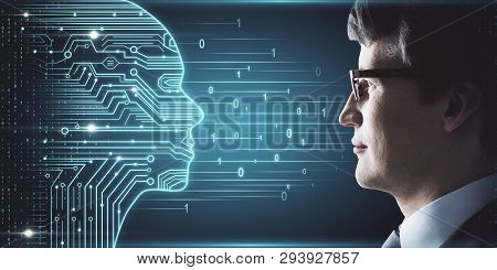 Side Portrait Of Attractive Young European Businessman With Digital Head Outline, Circuit And Binary