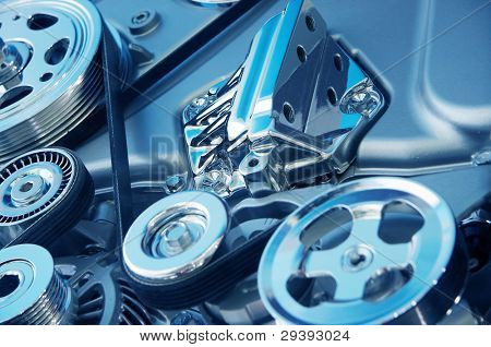 Complex engine of modern car with lots of details. poster