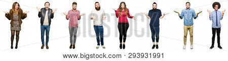 Collage of people over white isolated background clueless and confused expression with arms and hands raised. Doubt concept.