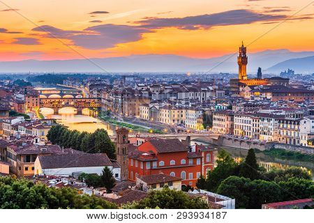 Florence, Italy. View Of Florence At Sunset From Piazzale Michelangelo.