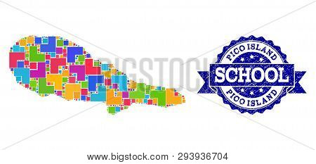 Mosaic Puzzle Map Of Pico Island And Rubber School Seal With Ribbon. Vector Map Of Pico Island Desig